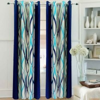 Homefab India Polyester Door Curtain (Single Curtain, 83 Inch/212 Cm In Height, Blue)