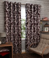 K Decor Polyester Brown Printed Window Curtain 84 Inch In Height, Pack Of 3