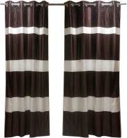 Furnishing Centre Polycotton Dark Brown And White Window Curtain 152 Cm In Height, Single Curtain