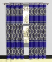 Vivace Homes Polyester, Jacquard Navy Blue Geometric Eyelet Door Curtain 30 Inch In Height, Single Curtain