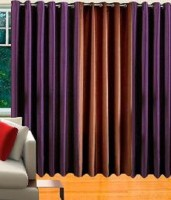 Mirchifry Polyester Brown, Purple Window Curtain 60 In Height, Pack Of 3