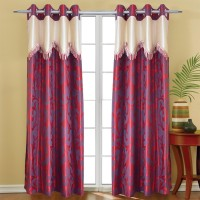 Jh Decore Polyester Maroon Printed Eyelet Door Curtain 210 Cm In Height, Single Curtain