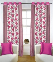 Fabutex Blends Pink Floral Eyelet Door Curtain 210 Cm In Height, Pack Of 2