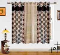 Dekor World Polyester Brown, Beige Damask Eyelet Window Curtain 150 Cm In Height, Pack Of 3