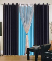 Export Hub Polyester Black , Sky Blue Plain Eyelet Door Curtain 214 Cm In Height, Pack Of 4