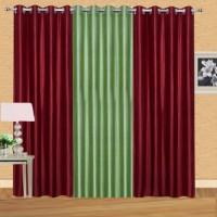 Shiv Shankar Handloom Polyester Maroon, Green Crush Plain Eyelet Door Curtain 213 Cm In Height, Pack Of 3