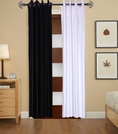 DECO INDIA Polyester Multi - Colour Plain, Printed Eyelet Door Curtain