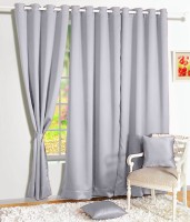 Story @ Home Silk Grey Solid Tab Top Door Curtain 215 Cm In Height, Single Curtain