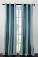 Deco Essential Polyester Light Blue Plain Eyelet Door Curtain 228.6 Cm In Height, Single Curtain