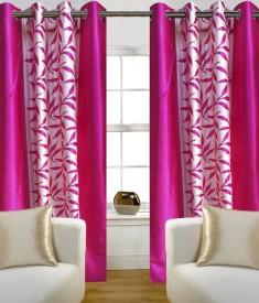 shop24decor Polyester Pink Floral Eyelet Door Curtain