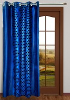 Homefab India Polyester Dark Blue Polka Eyelet Long Door Curtain 2.7 M In Height, Single Curtain