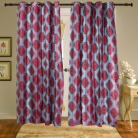 Shiva's Polyester Red Printed Ring Rod Door Curtain 215 Cm In Height, Pack Of 2 - CRNEAGQWCYR4GHTH