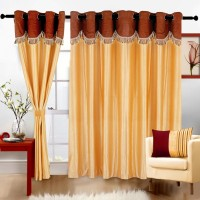 JH Decore Polyester Gold Plain Eyelet Door Curtain 210 Cm In Height, Single Curtain