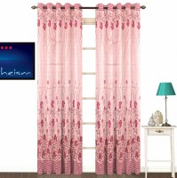Fabutex Polyester Pink Floral Eyelet Door Curtain 213 Cm In Height, Pack Of 2