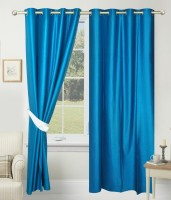SLV Home Decor Polyester Aqua Blue Plain Eyelet Window Curtain 152.4 Cm In Height, Pack Of 2