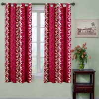 Trendy Home Polyester Maroon Printed Tab Top Window Curtain 153 Cm In Height, Pack Of 2