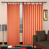 TG Shoppers Cotton Red, Orange Striped Curtain Door Curtain 210 Cm In Height, Pack Of 2
