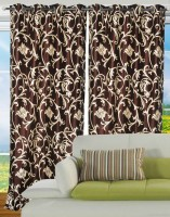 Hargunz Polyester Brown Door Curtain 214 Cm In Height, Single Curtain