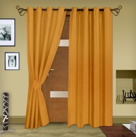 Story @ Home Jacquard Mustard Printed Eyelet Door Curtain 215 Cm In Height, Pack Of 2