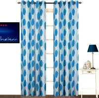 Kings Polycotton Blue Geometric Eyelet Door Curtain 213 Cm In Height, Pack Of 2