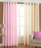 HomeZaara Polyester Pink, White Door Curtain 213.36 Cm In Height, Pack Of 2