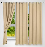 Story @ Home Polyester Beige Solid Eyelet Window Curtain 118 Cm In Height, Pack Of 3
