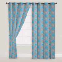 Presto Polyester Blue, Grey Self Design Door Curtain 210 Cm In Height, Single Curtain