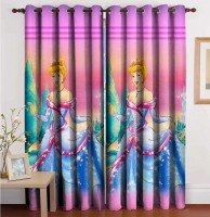 S'Shades Of Elegance Polyester Multicolor Printed Eyelet Door Curtain 214 Cm In Height, Single Curtain