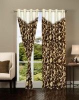 Brand Decor Polyester Multicolor Floral Window Curtain 275 Cm In Height, Pack Of 2