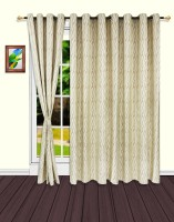 S9home By Seasons Polyester Beige Striped Eyelet Door Curtain 260 Cm In Height, Pack Of 2