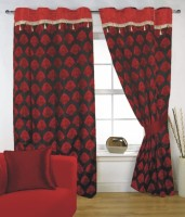 Fabutex Polyester Maroon, Brown Door Curtain 210 Cm In Height, Single Curtain