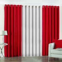 Pindia Polyester Red, White Door Curtain 183 Cm In Height, Pack Of 3