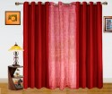 Dekor World Paradise Embroidery Window Curtain - Pack Of 3