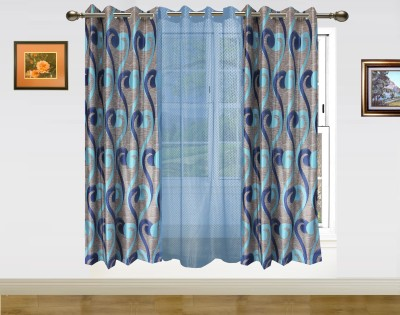 Dekor World Sprial World With Sheer Window Curtain - Pack Of 3
