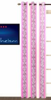 Fabutex Polyester Pink Striped Eyelet Door Curtain 210 Cm In Height, Single Curtain