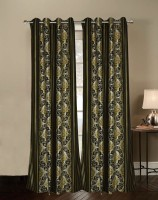India Furnish Polyester Green Floral Eyelet Door Curtain 213 Cm In Height, Pack Of 2