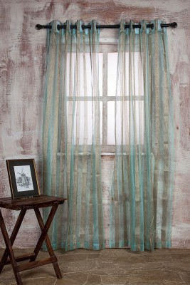 Marigold Polyester SEA GREEN\BEIGE Striped Curtain Door Curtain 213.36 Cm In Height, Single Curtain