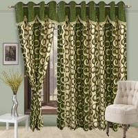 Cortina Polyester Green Floral Eyelet Door Curtain 270 Cm In Height, Single Curtain