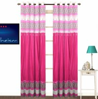 Fabutex Polyester Pink Plain Eyelet Door Curtain 210 Cm In Height, Pack Of 2