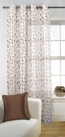Fabutex Tissue Brown Embroidered Door Curtain 213 Cm In Height, Single Curtain