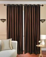Handloom Hut Polyester Brown Crush Plain Eyelet Door Curtain 213 Cm In Height, Pack Of 2