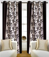 Fab Ferns Polyester Brown Floral Eyelet Long Door Curtain 270 Cm In Height, Single Curtain