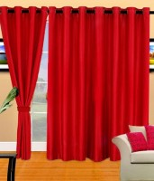 BNA Decor Polyester Red Plain Eyelet Long Door Curtain 275 Cm In Height, Pack Of 2