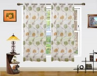 Dekor World Net Green, Yellow Floral Eyelet Window Curtain 150 Cm In Height, Pack Of 2