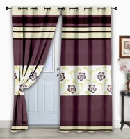 Story @ Home Jacquard Brown Floral Eyelet Door Curtain 215 Cm In Height, Single Curtain