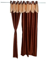 JH Decore Polyester Brown Damask Eyelet Door Curtain 215 Cm In Height, Single Curtain