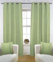 Fabutex Polyester Green Solid Eyelet Door Curtain 210 Cm In Height, Pack Of 4