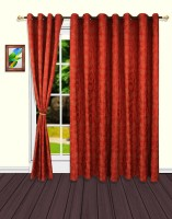S9home By Seasons Polyester Red Floral Eyelet Door Curtain 228.6 Cm In Height, Pack Of 2