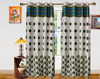 Dekor World Green Geometric Eyelet Long Door Curtain (275 cm in Height, Pack of 2)
