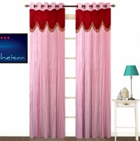 Fabutex Polyester Pink Plain Eyelet Door Curtain 213 Cm In Height, Pack Of 2
